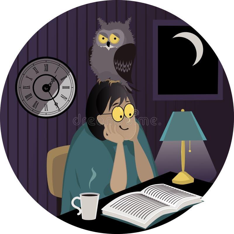 熬夜的人 向量例证