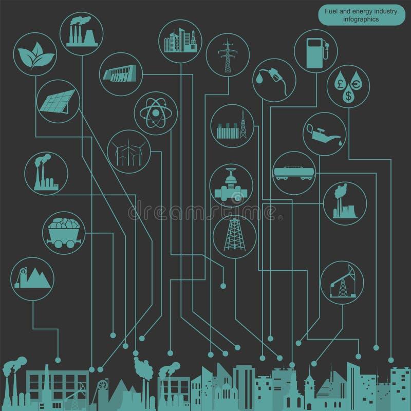 燃料和infographic的能源业,设置了创造的元素 库存例证
