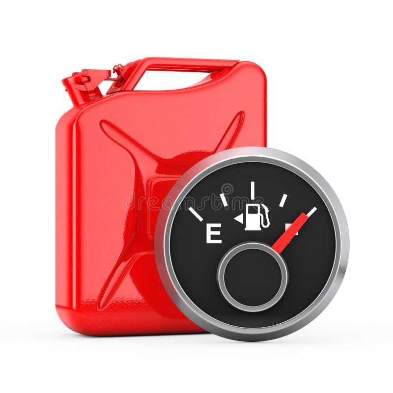 燃料显示在红色金属五加仑装之汽油罐前面的仪表板测量仪一辆充分的坦克 3d翻译 皇族释放例证