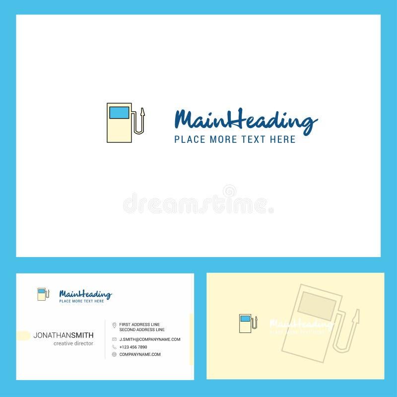 燃料驻地与口号的商标设计&前面和后面Busienss卡片模板 传染媒介创造性的设计 向量例证
