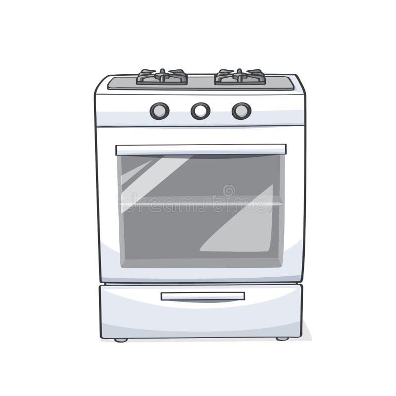 燃气范围烤箱/火炉和cooktops 库存例证