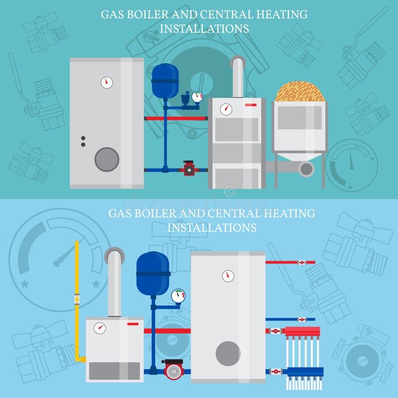 燃气锅炉和中央系统暖气设施 库存例证