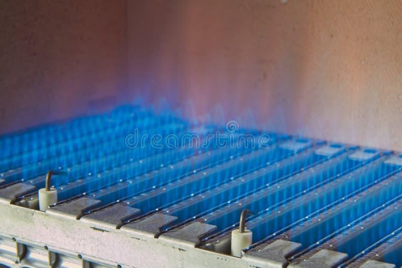 燃气锅炉的设备,热化水的过程 图库摄影