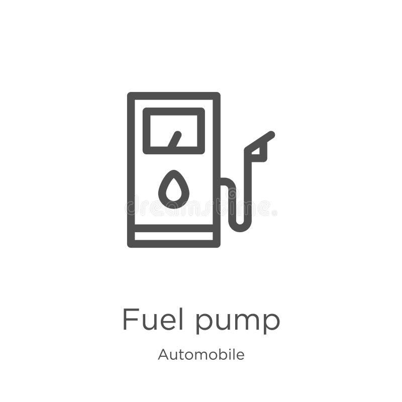 燃油泵从汽车汇集的象传染媒介 稀薄的线燃油泵概述象传染媒介例证 概述,稀薄的线燃料 库存例证