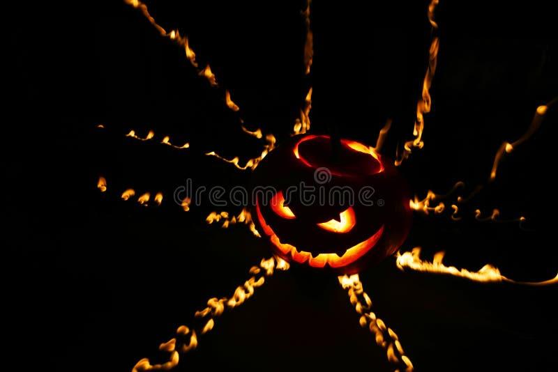 燃烧的万圣夜南瓜 库存照片