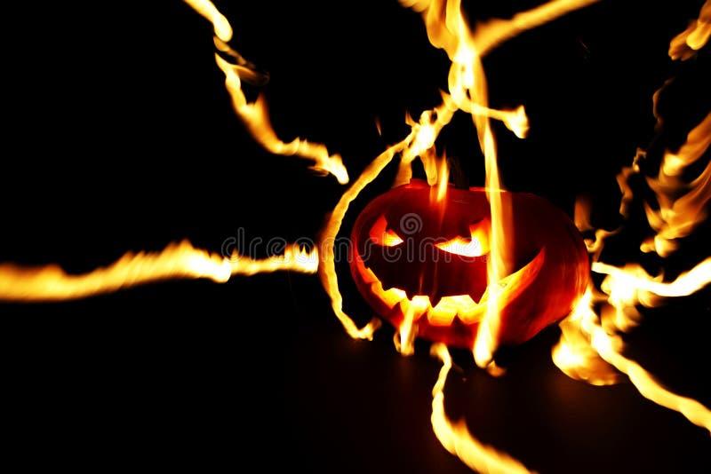 燃烧的万圣节南瓜 库存照片