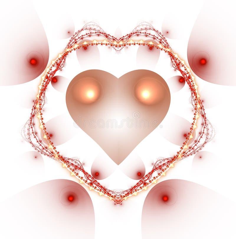 燃烧的和打的心脏 Valentine& x27; s天背景 2007个看板卡招呼的新年好 向量例证