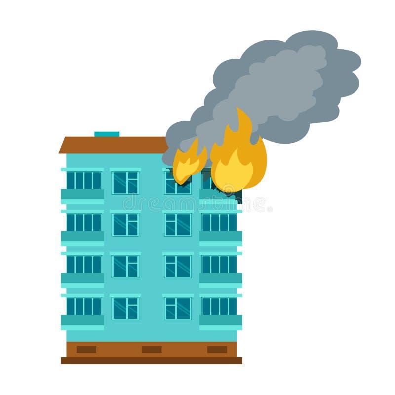 燃烧的城市大厦象,平的样式 向量例证