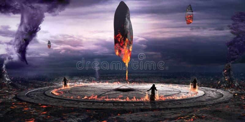 燃烧的巨型独石的召唤 库存例证