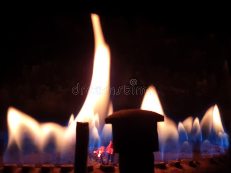 燃烧的气体 气体燃烧在加热的锅炉 免版税库存照片