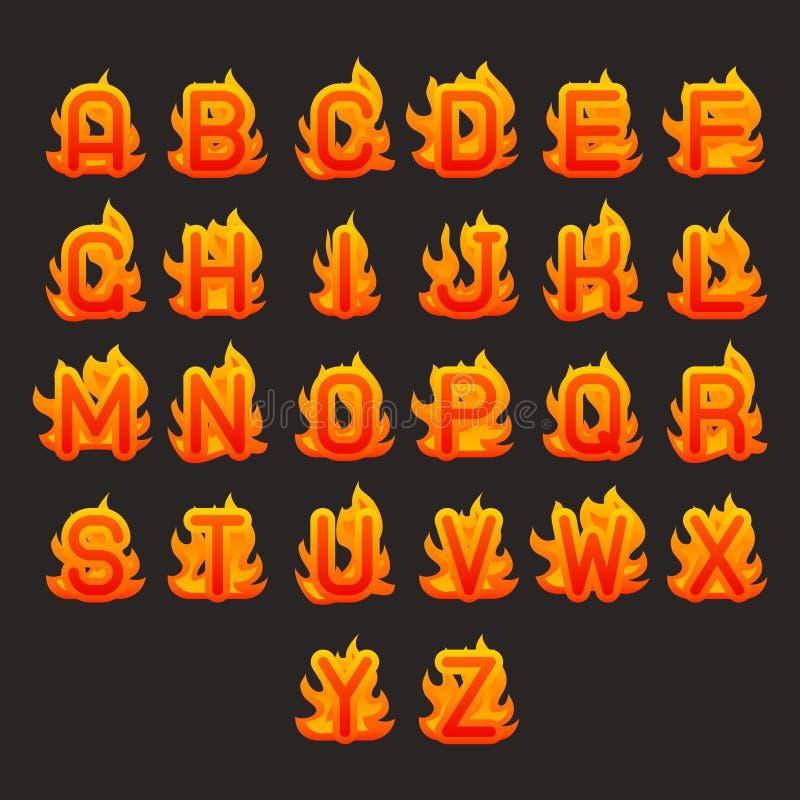 燃烧的火火焰热的字母表a到z铅印设计传染媒介例证 皇族释放例证