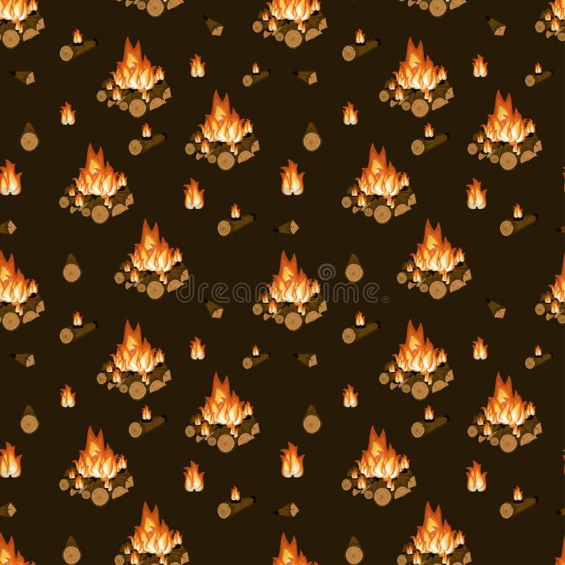 燃烧的篝火、木柴和火焰在黑褐色背景无缝的样式 野营,远足活动 动画片传染媒介 皇族释放例证
