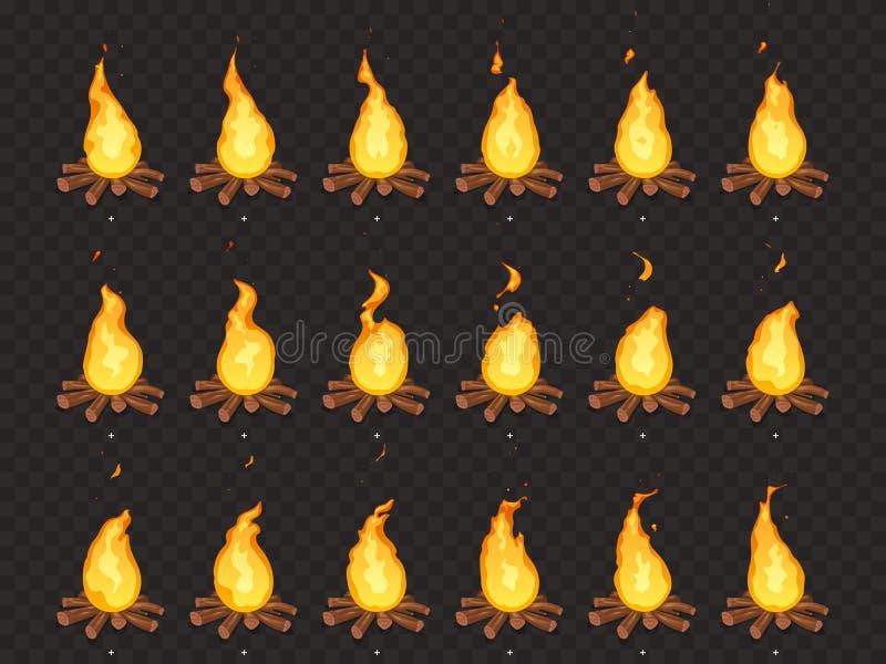 燃烧的篝火动画 热的火、室外营火和篝火动画片传染媒介隔绝了魍魉框架 向量例证