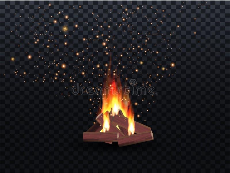 燃烧的篝火地域火的例证在木头的室外野营的或 库存例证