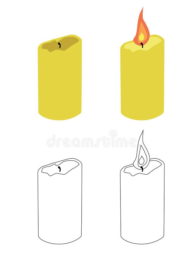 燃烧的蜡烛和被熄灭的蜡烛 库存例证
