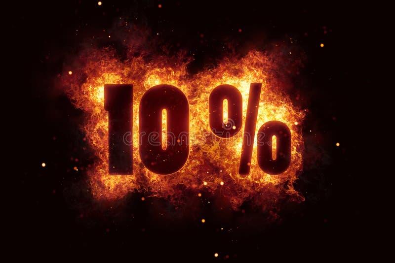 燃烧的10百分号折扣提供火  向量例证