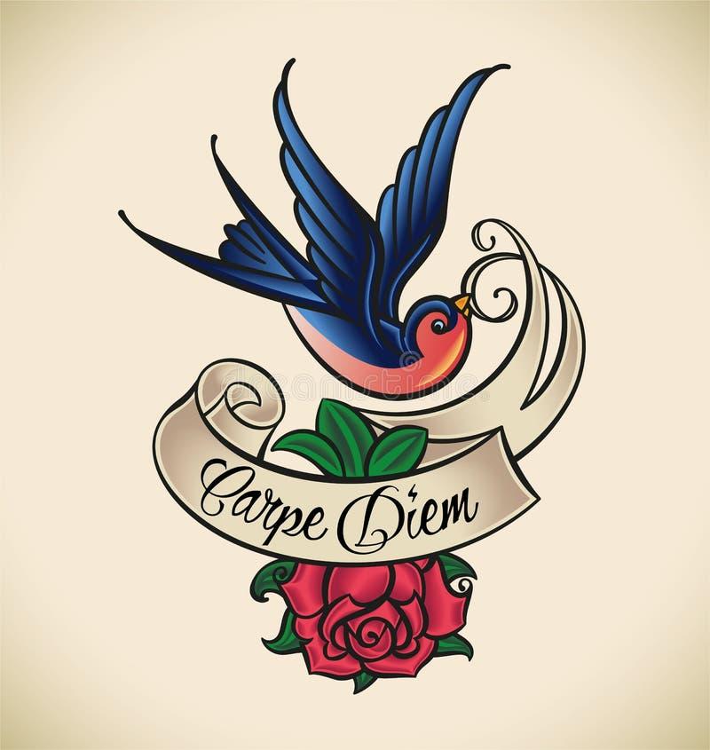 燕子和上升了,老学校纹身花刺 库存例证