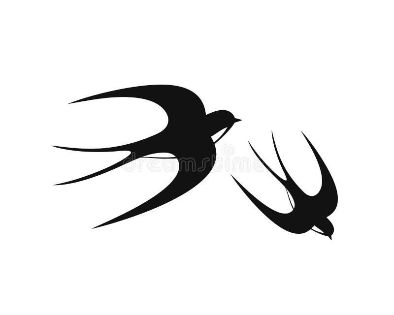 燕子商标 在白色backgroun的被隔绝的燕子 双翼飞机 向量例证