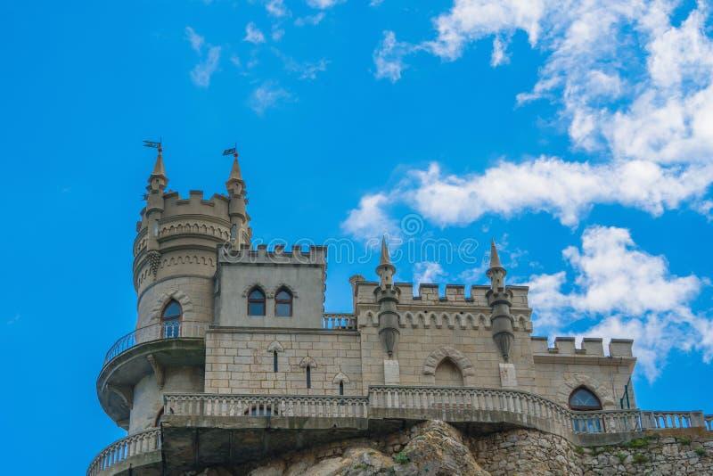 燕子筑巢,在海角Ai托多尔在黑海,克里米亚的地标的历史城堡 免版税库存照片