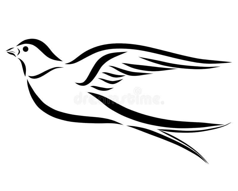 燕子,美丽的飞鸟,黑线 向量例证