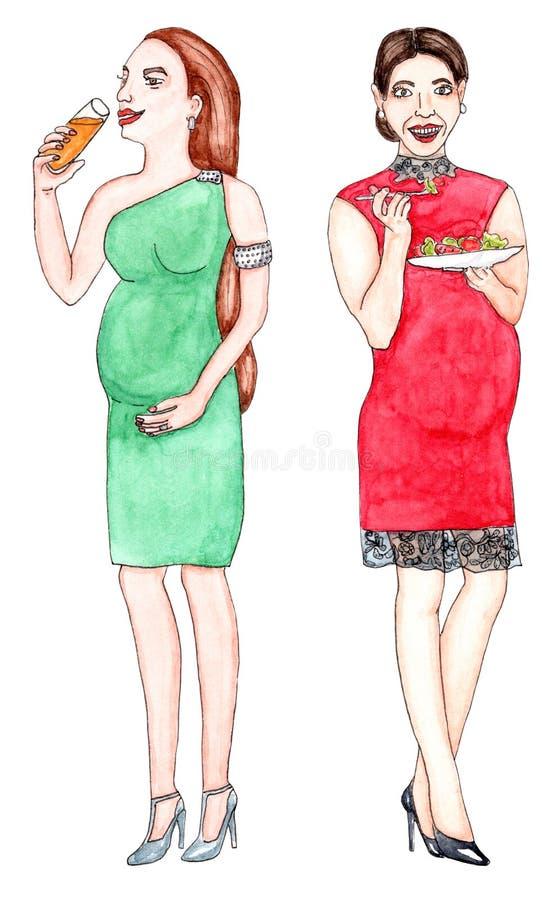 燕尾服的在白色的孕妇与饮料和食物 库存例证