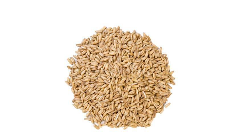 燕麦在白色背景堆积隔绝 ?? ?? 自然食品成分 图库摄影