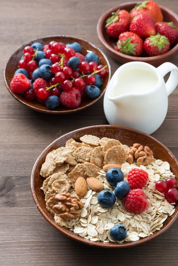 燕麦粥和muesli在碗、新鲜的莓果和牛奶 库存照片