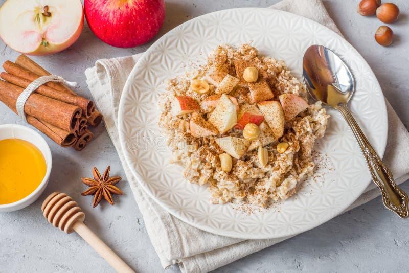 燕麦粥用新鲜的苹果、坚果和桂香早餐在Th 免版税库存照片