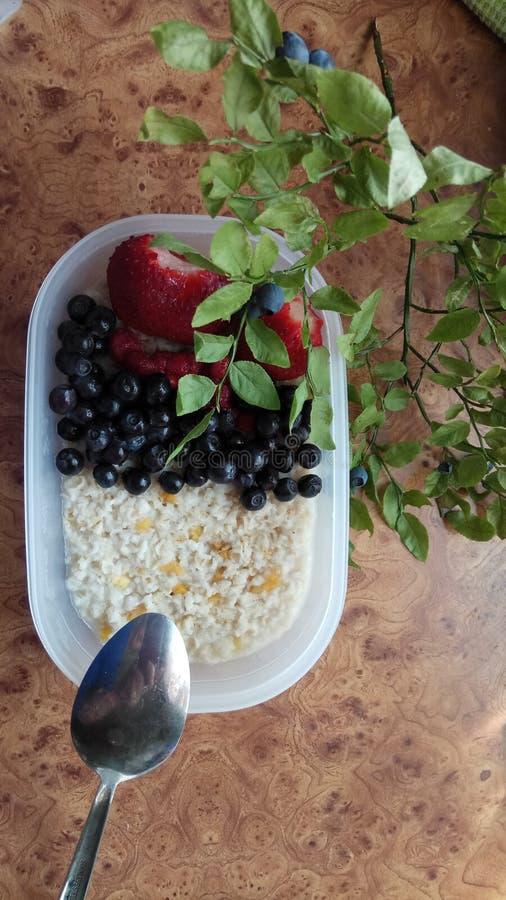 燕麦粥粥用新鲜的成熟莓果 免版税库存照片