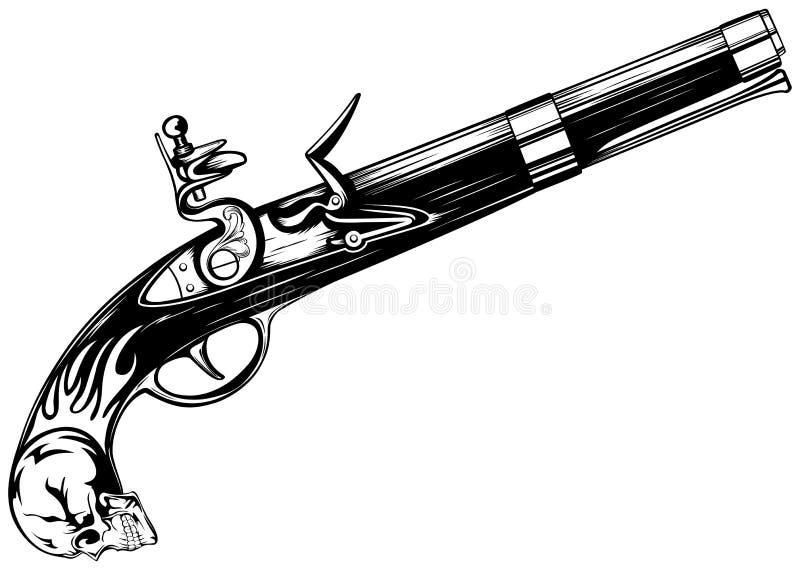 燧发枪老手枪 库存例证