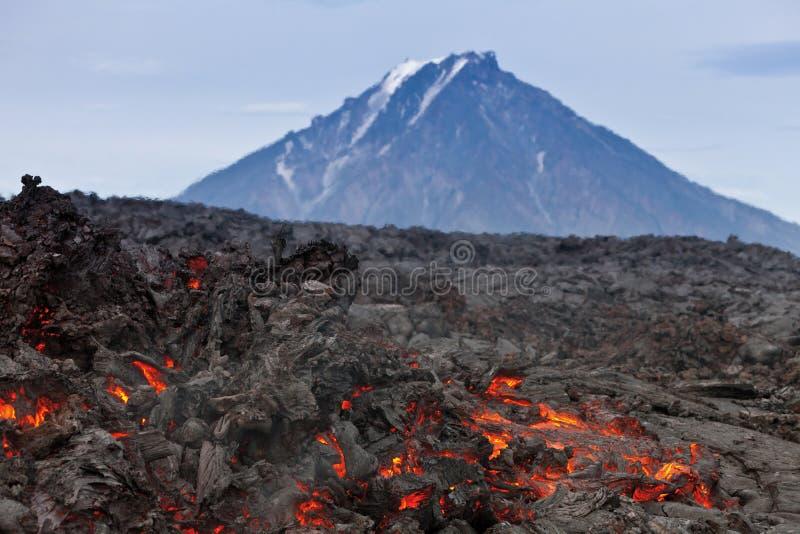 爆发火山扎尔巴奇克火山 免版税库存图片