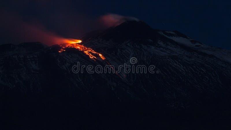 爆发火山Etna 库存图片