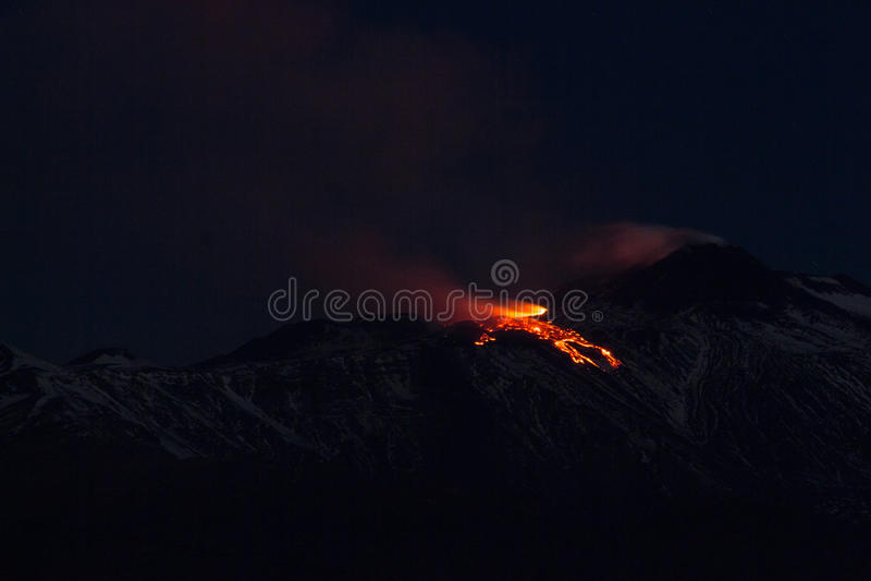 爆发火山Etna 图库摄影