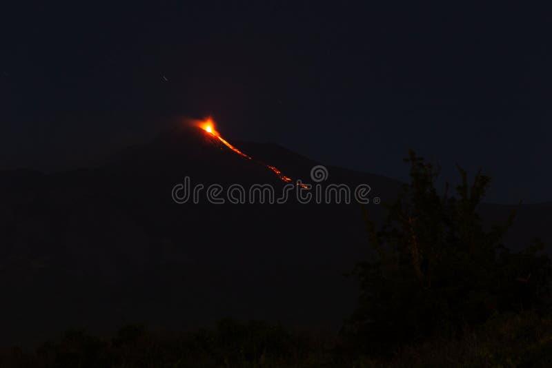 爆发Etna火山 库存图片