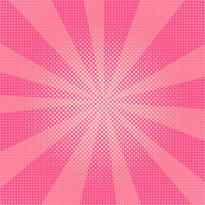 爆炸传染媒介例证 与小点的减速火箭的流行艺术背景 光线 库存例证
