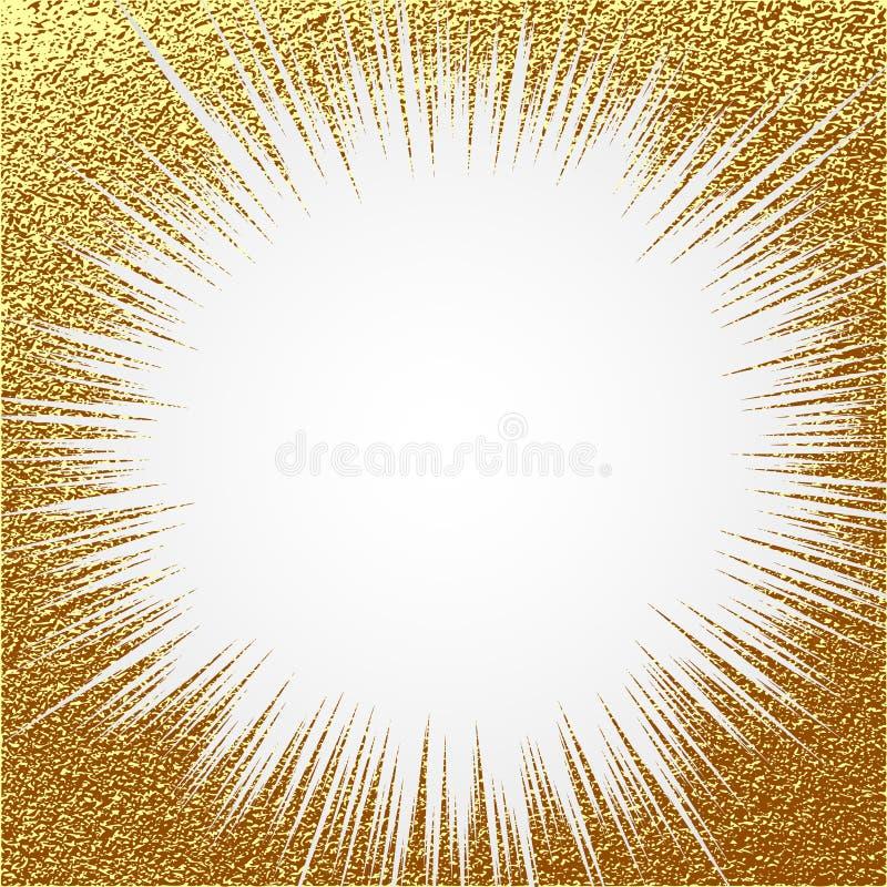 爆炸传染媒介例证 太阳光芒或星破裂了与闪闪发光的元素 金子圣诞节元素灿烂光辉闪烁 光线 皇族释放例证