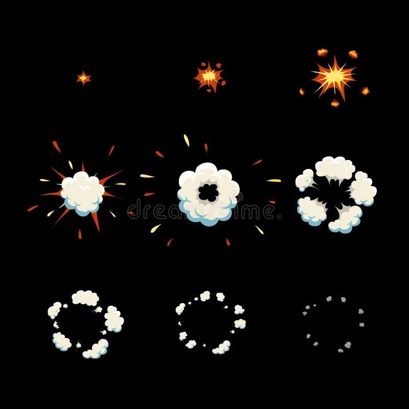 爆炸作用动画动画片爆炸框架 库存例证