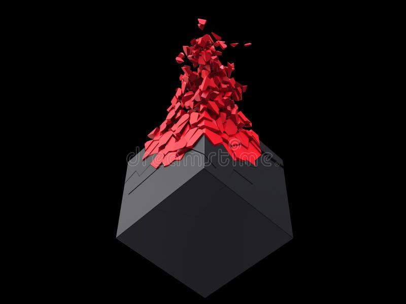 爆炸入小红色片段的表面无光泽的黑立方体 库存例证