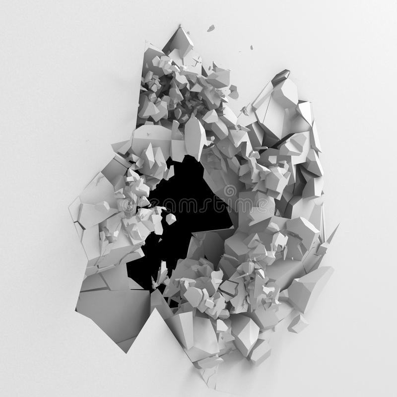 爆炸有破裂的孔的打破的白色墙壁 抽象backgrou 免版税库存照片