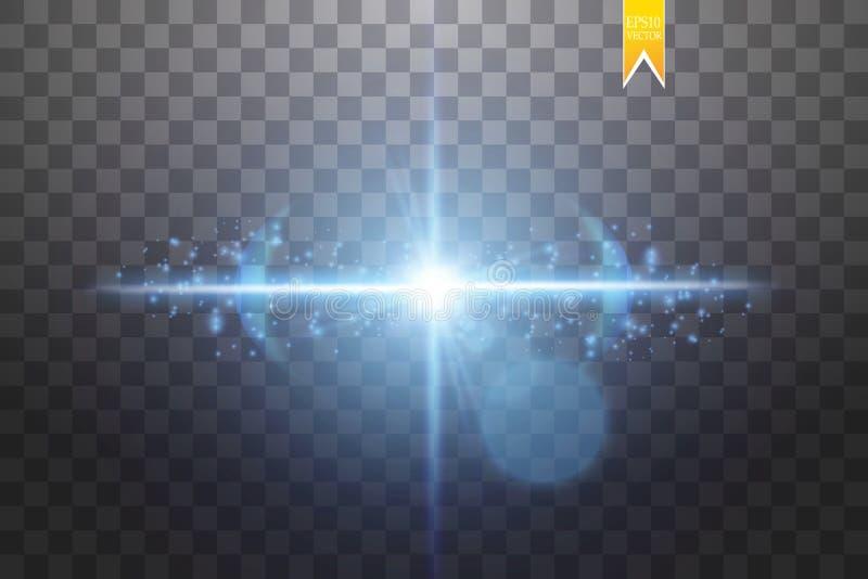 爆炸的作用,飞行用微粒的不同的方向,焕发蓝色透镜 传染媒介例证星闪光 向量例证