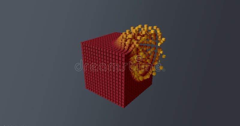 爆炸红色立方体黄色微粒蓝色的抽象墙纸背景 库存例证