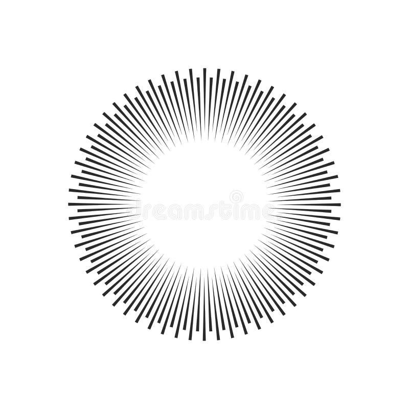 爆炸,射线,光芒几何设计圈子 在空白背景查出的向量例证 库存例证