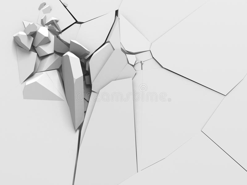 爆破白色墙壁孔破坏explision  抽象ba 皇族释放例证