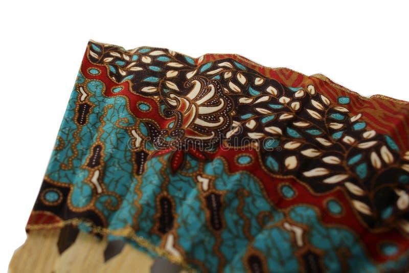 爪哇布料的一个木手爱好者叫蜡染布 库存照片