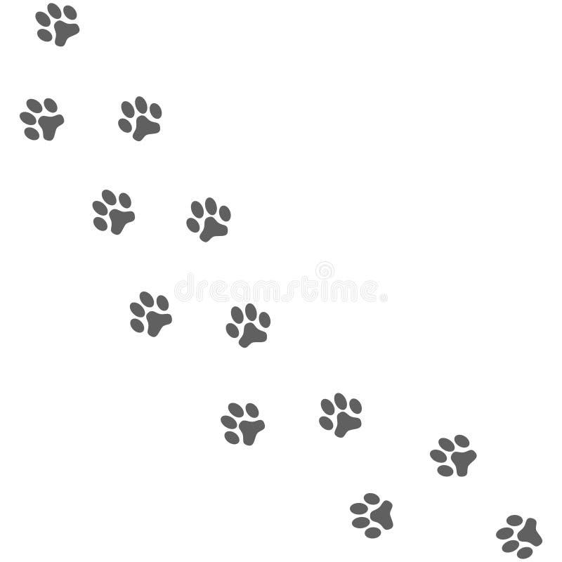 爪子印刷品 狗道路 向量例证