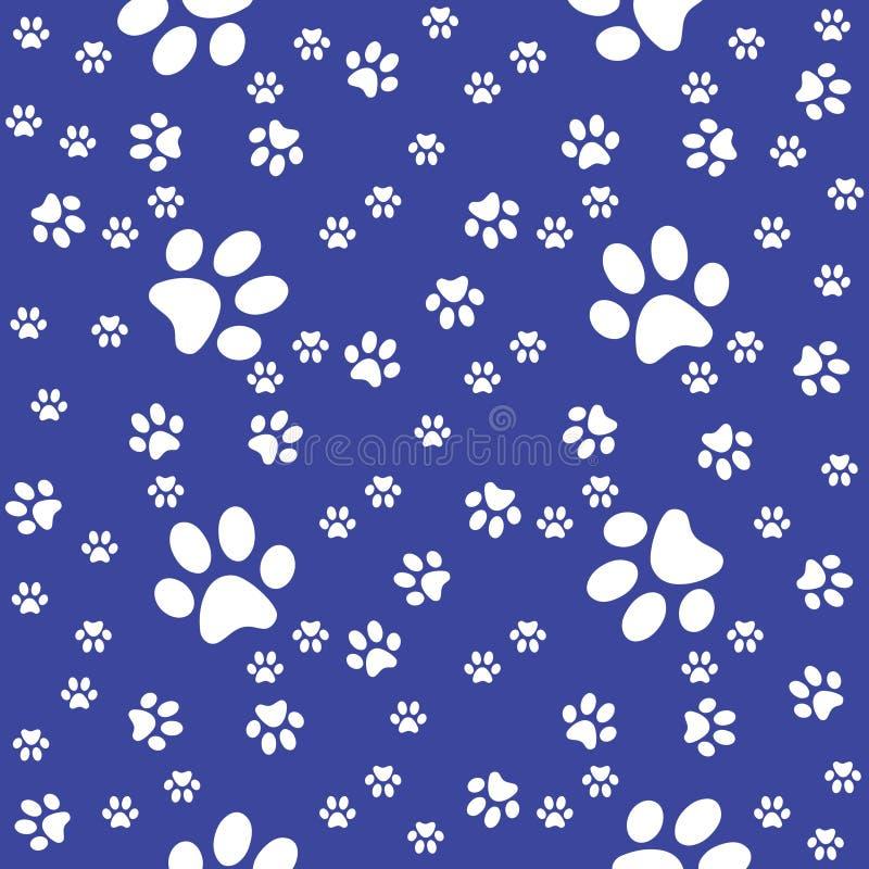 爪子无缝的水军蓝色样式,爪子背景,传染媒介例证 库存例证