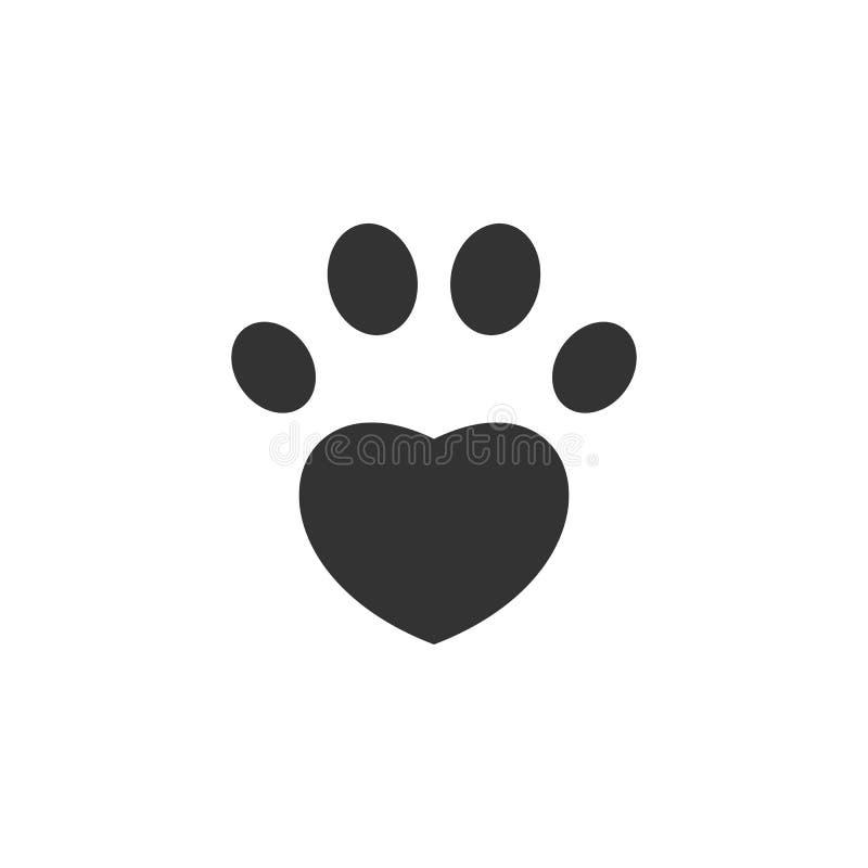 爪子象 重点查出的形状蕃茄白色 爱宠物标志 向量 库存例证