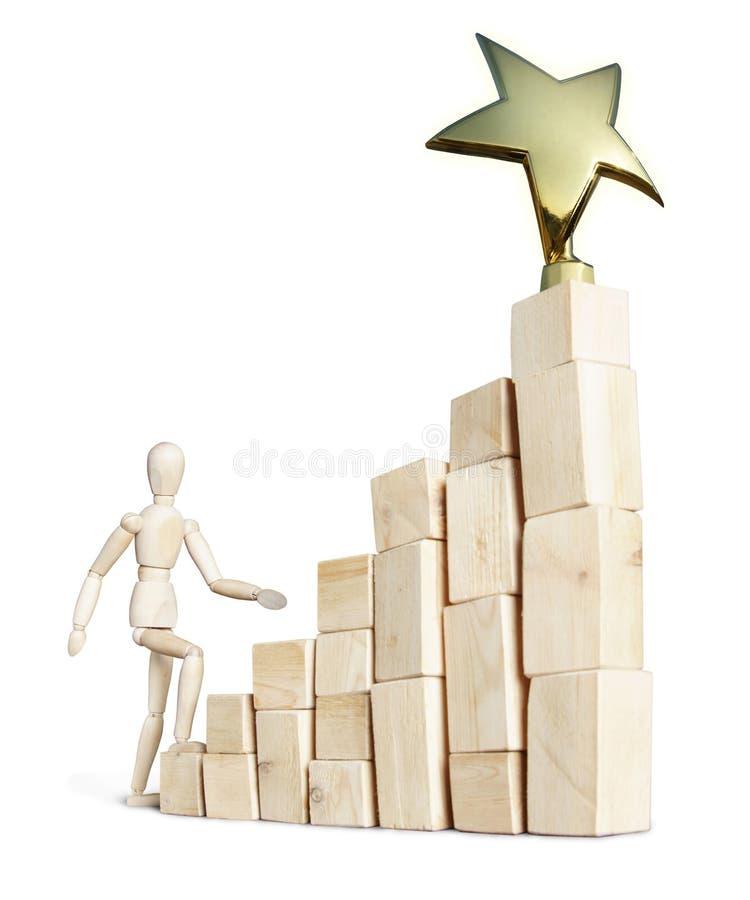 爬上台阶的人对奖 库存图片