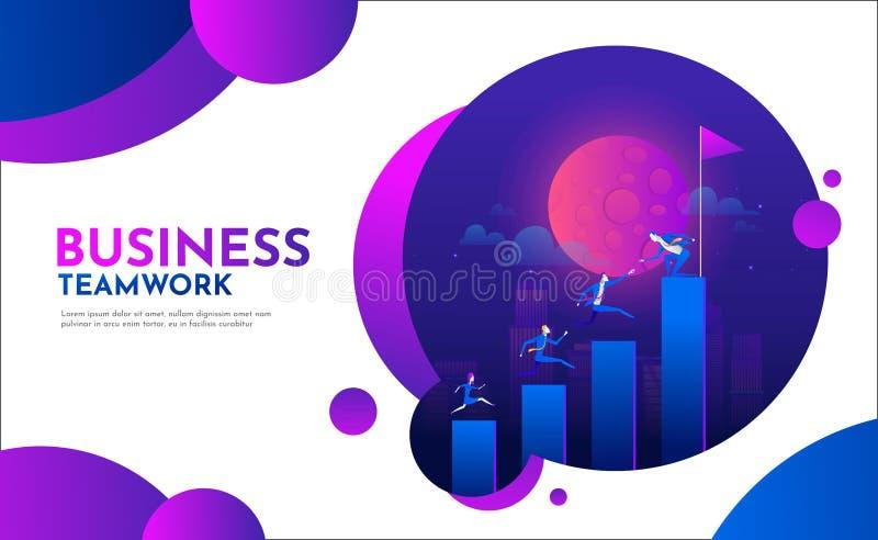 爬上图表台阶的平的商人 与字符的事业梯子 队工作,合作,领导 库存例证