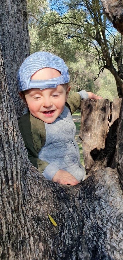 爬树的微笑的小男婴 图库摄影